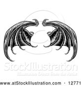 Vector Illustration of Black Dragon Wings by AtStockIllustration