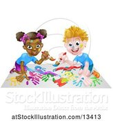 Vector Illustration of Black Girl and White Boy Painting by AtStockIllustration