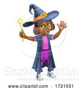 Vector Illustration of Black Girl Child Halloween Witch Costume by AtStockIllustration