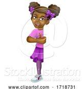 Vector Illustration of Black Girl Child Kid Thumbs up Sign by AtStockIllustration