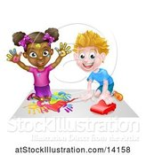 Vector Illustration of Black Girl Finger Painting and White Boy Playing with a Toy Car by AtStockIllustration