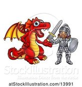 Vector Illustration of Black Girl Knight and Red Dragon by AtStockIllustration