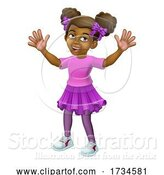 Vector Illustration of Black Little Girl Child Kid Waving by AtStockIllustration