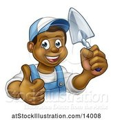 Vector Illustration of Black Male Mason Worker Holding a Trowel and Giving a Thumb up by AtStockIllustration