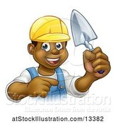 Vector Illustration of Black Male Mason Worker Holding a Trowel and Pointing by AtStockIllustration