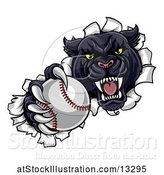 Vector Illustration of Black Panther Mascot Breaking Through a Wall with a Baseball by AtStockIllustration