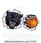 Vector Illustration of Black Panther Mascot Breaking Through a Wall with a Basketball by AtStockIllustration