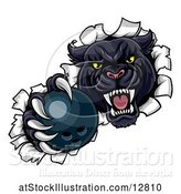 Vector Illustration of Black Panther Mascot Breaking Through a Wall with a Bowling Ball by AtStockIllustration