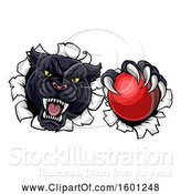 Vector Illustration of Black Panther Mascot Breaking Through a Wall with a Cricket Ball by AtStockIllustration