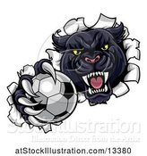 Vector Illustration of Black Panther Mascot Breaking Through a Wall with a Soccer Ball by AtStockIllustration