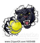 Vector Illustration of Black Panther Mascot Breaking Through a Wall with a Tennis Ball by AtStockIllustration