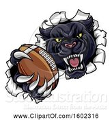 Vector Illustration of Black Panther Mascot Breaking Through a Wall with an American Football by AtStockIllustration