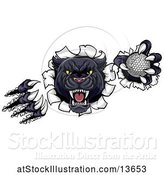 Vector Illustration of Black Panther Mascot Shredding Through a Wall with a Golf Ball by AtStockIllustration