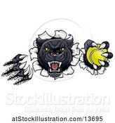 Vector Illustration of Black Panther Mascot Shredding Through a Wall with a Tennis Ball by AtStockIllustration