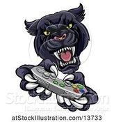 Vector Illustration of Black Panther Using a Video Game Controller by AtStockIllustration