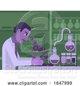 Vector Illustration of Black Scientist Working in Laboratory by AtStockIllustration