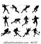 Vector Illustration of Black Silhouetted American Football Players in Action by AtStockIllustration