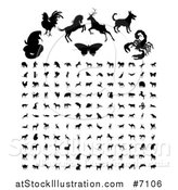 Vector Illustration of Black Silhouetted Animals and Insects by AtStockIllustration