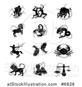 Vector Illustration of Black Silhouetted Astrology Zodiac Animals and Gray Symbols| Royalty Free Vector Illustration by AtStockIllustration