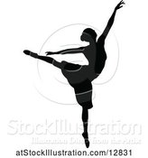 Vector Illustration of Black Silhouetted Ballerina Dancing by AtStockIllustration