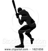 Vector Illustration of Black Silhouetted Baseball Player Batting by AtStockIllustration