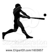 Vector Illustration of Black Silhouetted Baseball Player Batting, with a Reflection on a White Background by AtStockIllustration