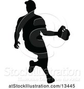 Vector Illustration of Black Silhouetted Baseball Player by AtStockIllustration