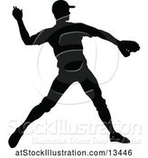 Vector Illustration of Black Silhouetted Baseball Player Pitching by AtStockIllustration
