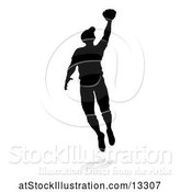Vector Illustration of Black Silhouetted Baseball Player, with a Shadow, on a White Background by AtStockIllustration