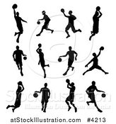 Vector Illustration of Black Silhouetted Basketball Players by AtStockIllustration