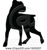 Vector Illustration of Black Silhouetted Boxer Dog by AtStockIllustration