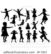 Vector Illustration of Black Silhouetted Boys and Girls Playing by AtStockIllustration