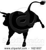 Vector Illustration of Black Silhouetted Bull Cow by AtStockIllustration