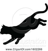 Vector Illustration of Black Silhouetted Cat Pouncing by AtStockIllustration