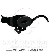 Vector Illustration of Black Silhouetted Cat Running by AtStockIllustration