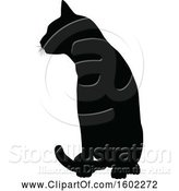 Vector Illustration of Black Silhouetted Cat Sitting by AtStockIllustration