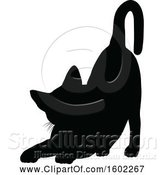 Vector Illustration of Black Silhouetted Cat Stretching by AtStockIllustration
