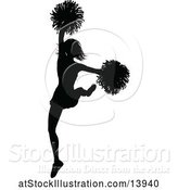 Vector Illustration of Black Silhouetted Cheerleader in Action by AtStockIllustration