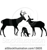 Vector Illustration of Black Silhouetted Deer Buck, Doe and Fawn by AtStockIllustration