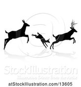 Vector Illustration of Black Silhouetted Deer Family Leaping, with a Shadow on a White Background by AtStockIllustration