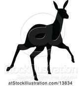 Vector Illustration of Black Silhouetted Deer Fawn by AtStockIllustration