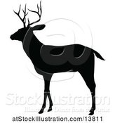 Vector Illustration of Black Silhouetted Deer Stag Buck by AtStockIllustration