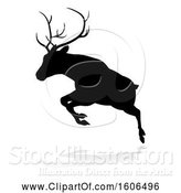Vector Illustration of Black Silhouetted Deer Stag Buck, with a Shadow on a White Background by AtStockIllustration