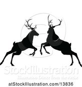 Vector Illustration of Black Silhouetted Deer Stag Bucks Rutting by AtStockIllustration