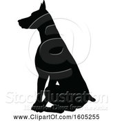 Vector Illustration of Black Silhouetted Dobermann Dog Sitting by AtStockIllustration