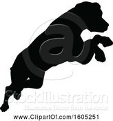 Vector Illustration of Black Silhouetted Dog Jumping by AtStockIllustration