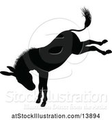 Vector Illustration of Black Silhouetted Donkey Bucking by AtStockIllustration