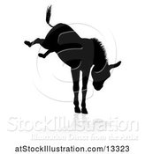Vector Illustration of Black Silhouetted Donkey Bucking, with a Reflection or Shadow, on a White Background by AtStockIllustration