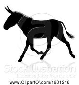 Vector Illustration of Black Silhouetted Donkey with a Shadow or Reflection, on a White Background by AtStockIllustration