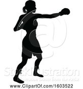 Vector Illustration of Black Silhouetted Female Boxer Fighter by AtStockIllustration